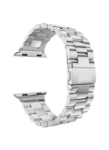 Apple Apple Watch 42-44mm Çelik Bakla Kordon Kayış Gümüş
